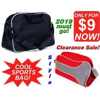 Sports Bag (Cool Jet Black & Trendy Cool Red) *CLEARANCE SALE! Discount Price at less than $10! Last Few, ALL MUST GO!*
