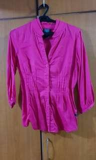 Long sleeves fuschia pink blouse