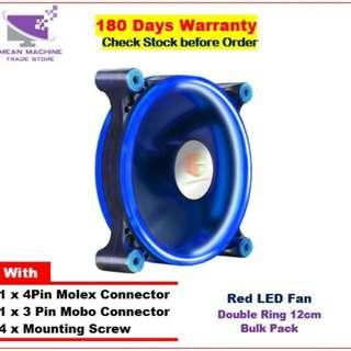 #12 Cm Single Colour Double Ring LED Chassis Fan (( Red / Blue / White / Green)#