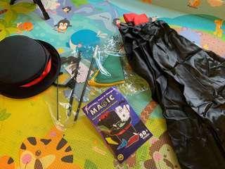 Magician Costume with Magic Tricks Set