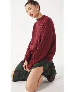 🚚 uo urban outfitters austin mock-neck cable knit sweater