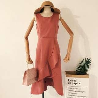 Sleeveless Ruffled Hem Dress in Burnt Orange