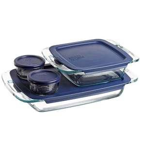 Pyrex Easy Grab 8-Piece Glass Bakeware and Food Storage Set 8 pc set Clear
