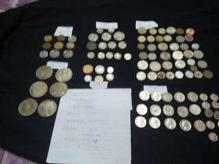 Berbagai jenis duit, America, Hong Kong, euro, pence, Australia, Jepun, kesemua duit ada.104,pcs