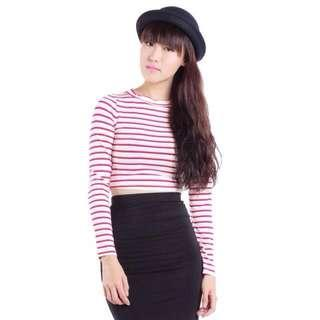 The Tinsel Rack Morgan Stripes Top (Red)