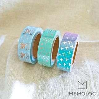 Blue Color Gold and Rose Gold Foil Decorative Washi Tape