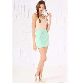 FLAUNT Quilted Zip Skirt Mint