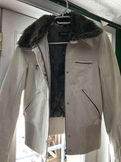 Brand New Danier Cream Leather Jacket with Fur Trim