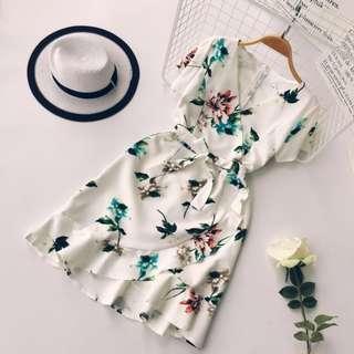 Floral Wrap Ruffles Hem Dress