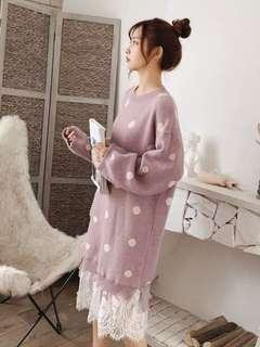 🚚 粉紫粉芋色針織韓系氣質長袖蕾絲珍珠上衣