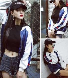 [INSTOCK] Korean Ulzzang Navy Love Embroidery Baseball Bomber Jacket