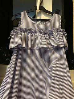 Blue striped dress with rufflesp