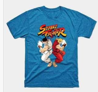 New Teepublic Blue Street Fighter Ken Ryu Tee Shirt T-shirt