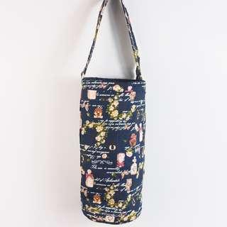 60cd6fe68438 Handmade water bottle carrier -Vintage roses with perfume bottles design