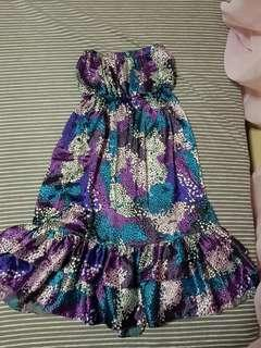 PRELOVED SATIN SHADES OF PURPLE / VIOLET TUBE FRILLY DRESS (SIZE S)