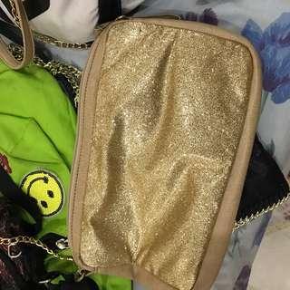 Gold glitter sling bag