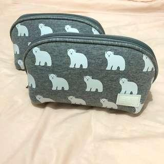 Chocoolate 灰色北極熊化妝袋收納袋