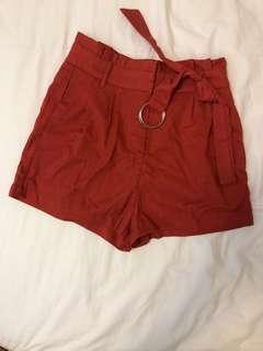 Red shorts with belt xs