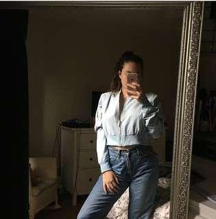 Cropped baby blue bomber