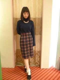 🚚 CocoDeal排扣格紋高腰裙