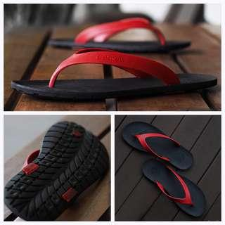 AMOU Flipflops Red Black Sandal Jepit Pria Casual Bahan Karet Anti Licin