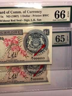 1 pair of Singapore orchid series $1 LKS A/1 000093-94 RUN First Prefix Low number PMG 66/65 EPQ