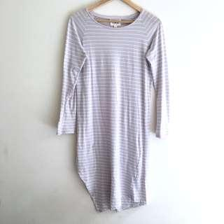 Life With Bird Lilac/White Striped Cotton Dress