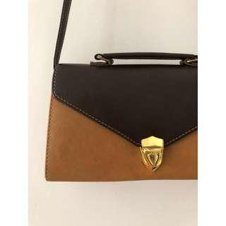 BN Brown Leather Tote Structured Boxy Sling Bag