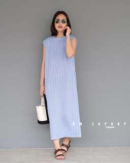 🚚 AMC Tank Bat Maxi Dress in Stripe Light Blue