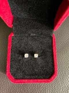 Diamond earrings 0.20 ct each in 14k white gold