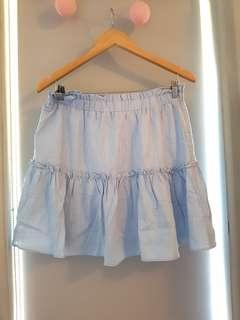 New With Tags Ally Fashion Linen Skater Skirt Ruffle Sz 14 L XL A-line Light Baby Sky Blue