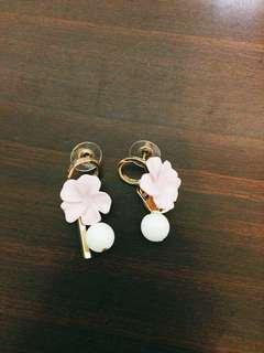 粉紅花&毛絨球耳環