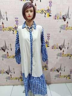 Baju fashion kotak2 biru gradasi white