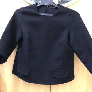 Thick Material Black Blouse
