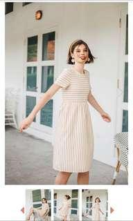 TSW stripes midi dress in sand