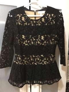 New black lace peplum top (cost $50)