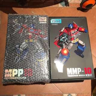 Transformers Wei Jiang Weijiang - MPP-10 MPP10 Optimus Prime (Brand New) plus 1 3D Metallic Diecast Autobot Logo & Transform World - MMP-10 MMP10 Upsized Masterpiece MP-10 Optimus Prime / Convoy (MISB) (Free one more logo)