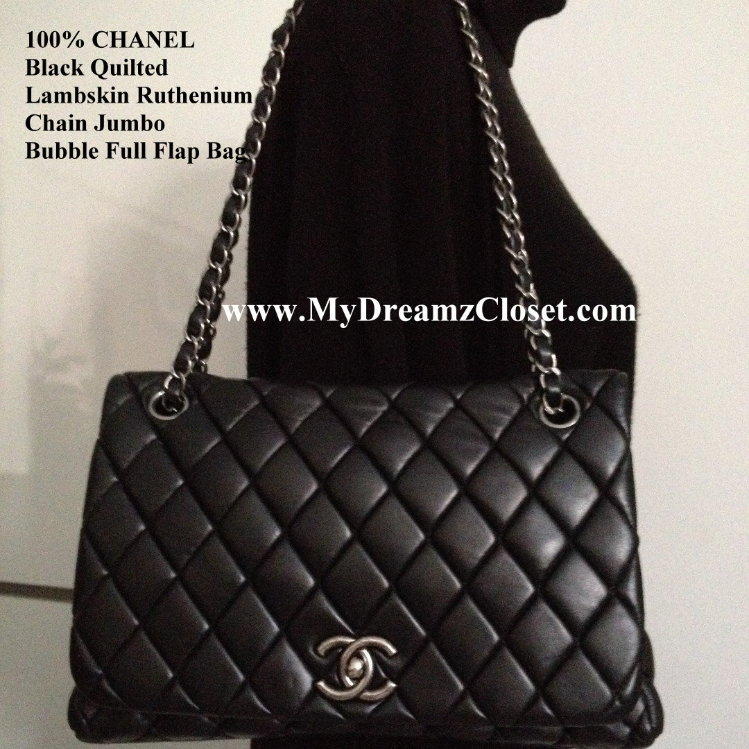 764e3cfd9a5423 100% CHANEL Black Quilted Lambskin Ruthenium Chain Jumbo Bubble Full ...