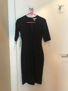 New Black Babaton Dress Body Con Deep V Neck