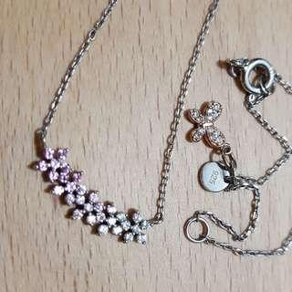 925純銀項鍊 粉紅色漸層 小花蝴蝶