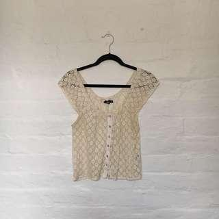 Sweet Little Cream Off-White Peasant Girl Top
