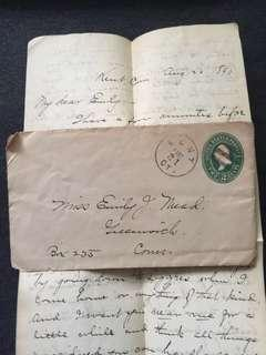US 1890 2c Green U311 Stamped Envelope + Letter, 3-Bar Cancel, Kent to Greenwich Connecticut