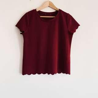 Maroon scalloped top