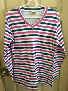 Colourful stripe long sleeve top