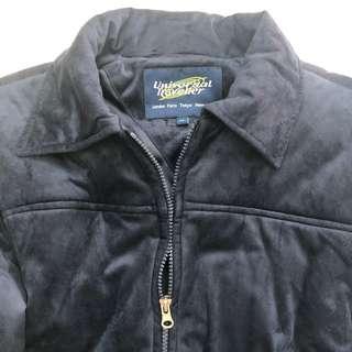 Women Navy Blue Suede Winter Jacket