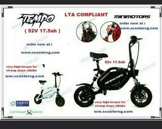 Left w grey n blacks..limited units.. hurry ! - MiniMotors TEMPO 1500w Motor 52V 17.5AH LG quality battery MRT friendly n LTA  compliant electric scooter in Singapore - free same day delivery