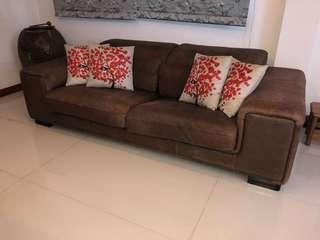 Preloved leather 2 seater big sofa