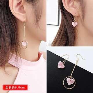 [instock] pink heart sweet dangling earrings