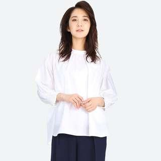 Uniqlo Women Extra Fine Cotton 3/4 Sleeve Gather Blouse
