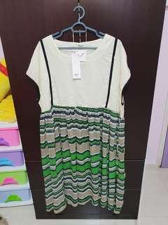 BN 6XL Plus Size Dress Green White
